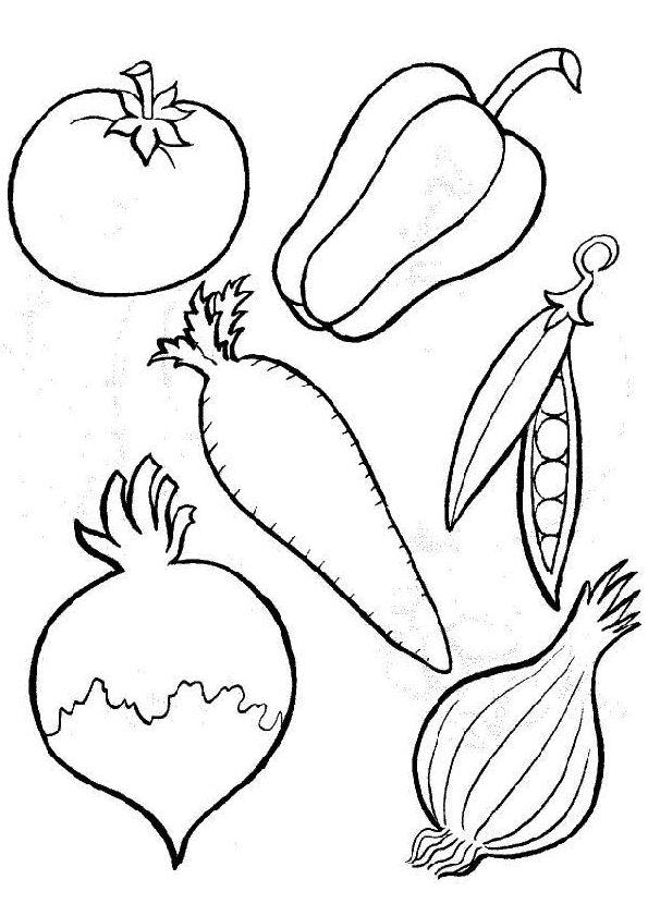 Coloriage de légumes pour décorer la cuisine