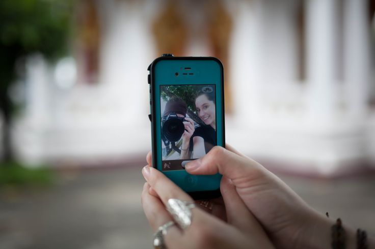 Selfies in the temple grounds somewhere in Bangkok, Thailand.