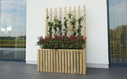 Mooie plantenbak met mogelijkheid tot een klimplant. Leuk om een afscheiding te maken.