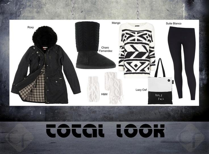 La tendencia black sigue vigente este invierno. Te proponemos un modelo con estos colores, te harán falta unos leggings, un jersey de punto, un buen abrigo deportivo y como no… unos guantes y bufanda a juego! Completa el look con una bolsa shopping de tela.