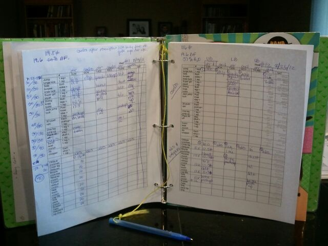 workout binder with pen on a string. folder for printed out pinterest routines from my workout board. ab workouts on one side, everything else on the other. routines from my trainer in the very front of the entire binder. i also use myfitnesspal while i'm at the gym because i can't carry this thing all around! i map out my week on sunday, then buckle up for a great ride!