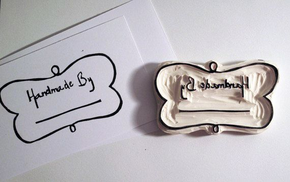 Handmade By with Swirly frame - Hand-carved Rubber Stamp. $11.00, via Etsy.