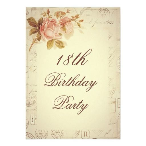 vintage paris postmarks chic roses 18th birthday card - 18th Birthday Party Invitations