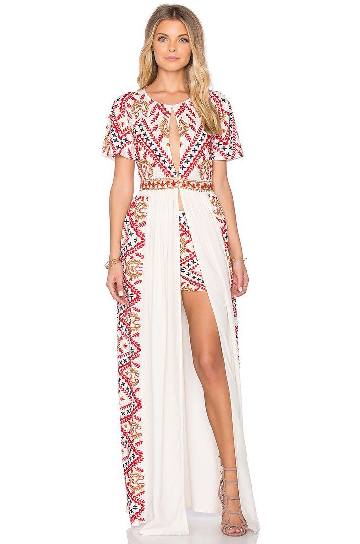Tessora Long Maxi Dress in Off White