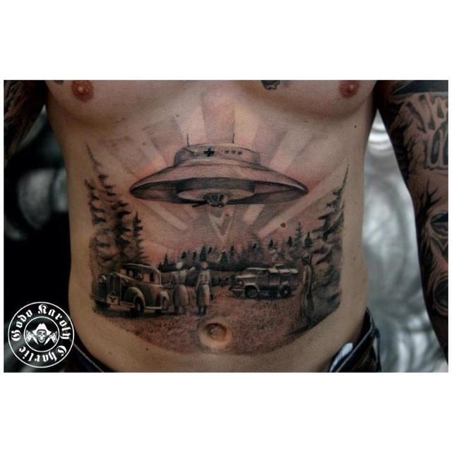 Tattoo Of Nazi era UFO With An Under mount Turret Tattoos