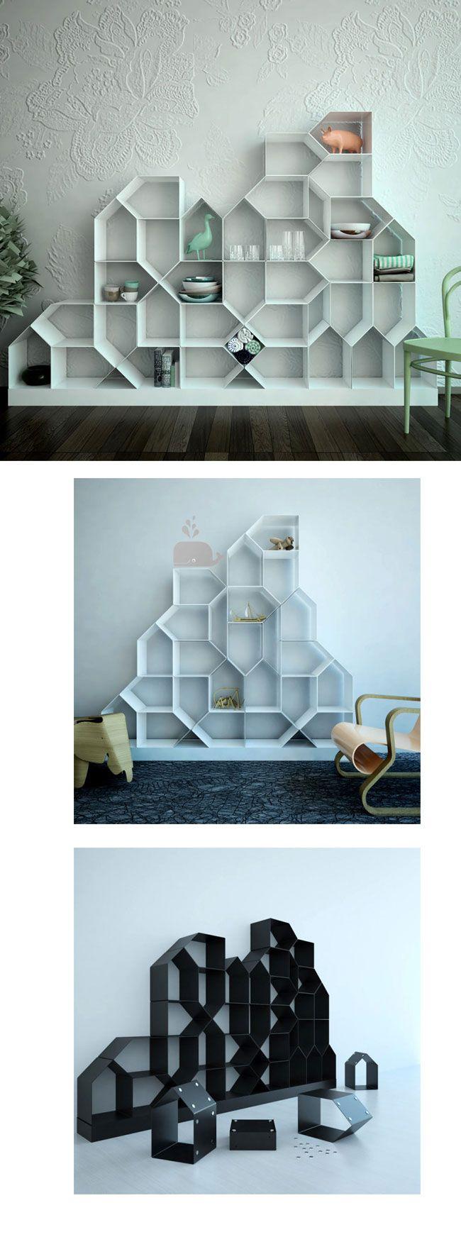 Mr.Less & Mrs.More to kolekcja półek, które można łączyć ze sobą w dowolnych konfiguracjach. Projekt Włoszki Antonelli Di Luca był prezentowany w czasie Mediolańskiego Tygodnia Designu. Punktem wyjściowym całej kolekcji był kształt domu  http://www.eksmagazyn.pl/design/cos-na-rzeczy/polka-modulowa/  #design #meble