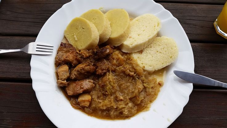 Prague Food Favourites. This is Moravsky Vrabec, a pork dish that literally translates as Moravian Sparrow. In this case served with bread dumplings, potato dumplings and cooked sweet white cabbage.