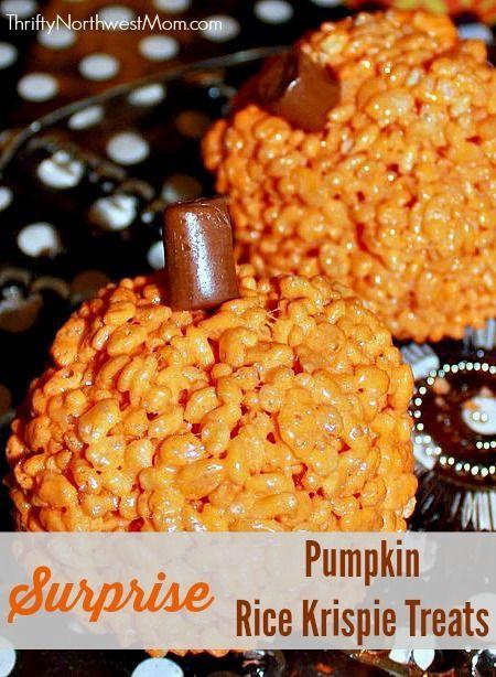 Kids will love these Pumpkin Rice Krispie Treats with a Surprise inside!