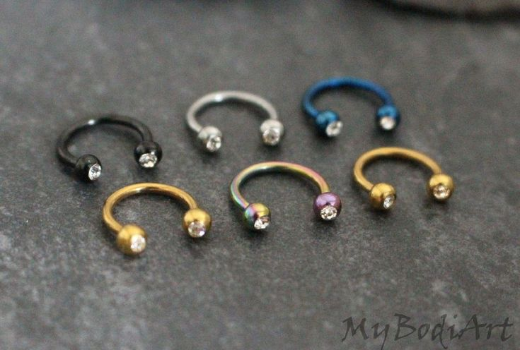 Swarvoski Crystal Horseshoe Barbell, Septum Ring, Daith Piercing – MyBodiArt