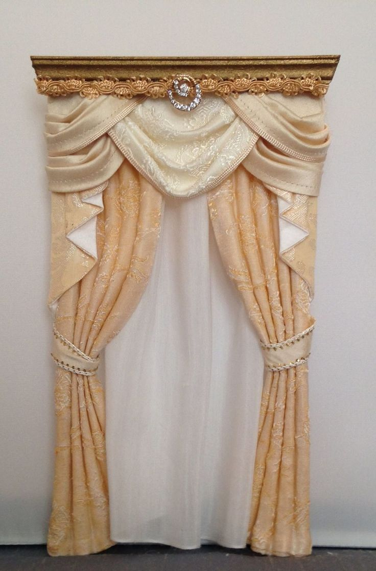 Peach curtains drapes - Dollhouse Miniature 1 12 Scale Handcrafted Curtain Drape Valance Wootens Miniatures