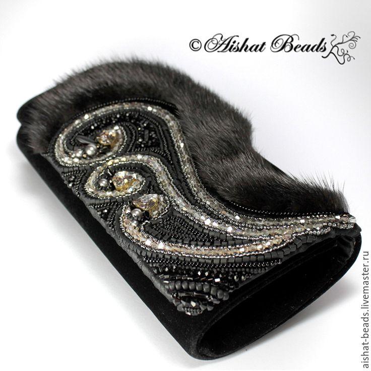 Купить Клатч Венеция с мехом норки, кристаллами и жемчугом Swarovski - черный, Вечерний клатч