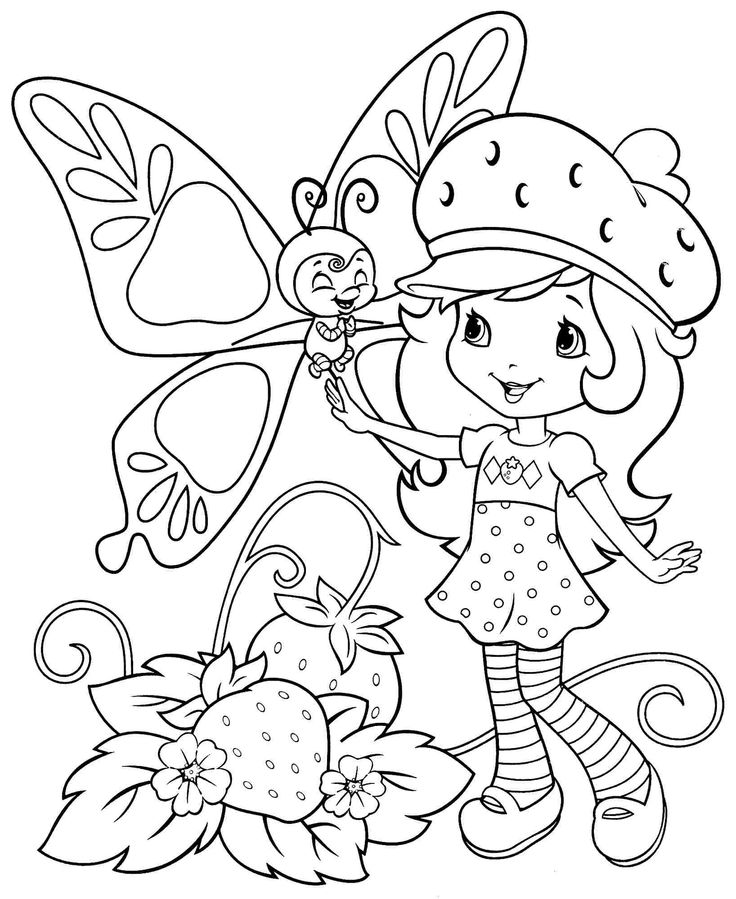 Free Coloring Sheets Cartoon Strawberry Shortcake For Kids Boys Girls