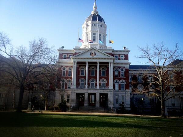 The flag over Jesse Hall at half-mast today as MU remembers the students who have passed away since last April.