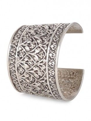 Classic Silver Cuff with Floral Motif