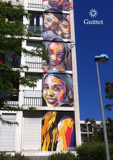 GUITTET s'est associé, via son distributeur Station Peinture, à We Records & Size, une association d'artistes marseillais dont le but est d'amener l'art dans les cités en créant un musée à ciel ouvert. Fresque «Bambins» de l'artiste Cros 2 réalisée en Montyl.