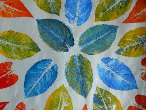 multiple color leaf prints