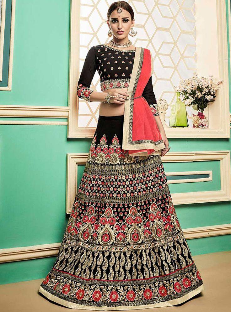 Black Art Silk Readymade A Line Lehenga Choli 114298