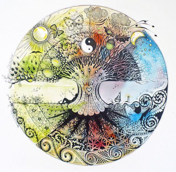Levensboom:  circle of life art drawing