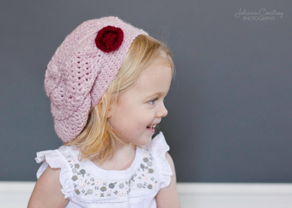 Crochet Beanie Hat Slouchy Beanie Beret by LittleMommaBoutique, $30.00Hats Pink, Slouchy Beanie, Baby Knits, Beanie Beret, Baby Girls Hats, Hats Slouchy, Beanie Hats, Beret Baby,  Poke Bonnets