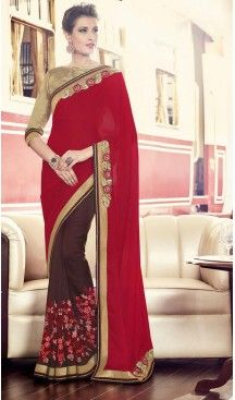 Georgette Chiffon Fabric Red Color Embroidered Party Wear Saris   FH512778065  #party , #wear, #saree, #saris, #indian, #festive, #fashion, #online, #shopping, #designer, #usa, #henna, #boutique, #heenastyle, #style, #traditional, #wedding, #bridel, #casual, @heenastyle , #blouse, #prestiched, #readymade, #stitched , #Georgette , #embroidery