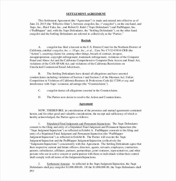 Simple Settlement Agreement Best Of 20 Settlement Agreement Templates Word Pdf Pages Separation Agreement Template Cash Flow Statement Contract Template