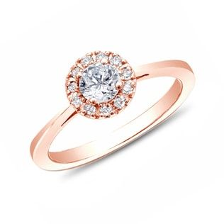 KLENOTA Rose gold HALO egagement ring with diamonds.
