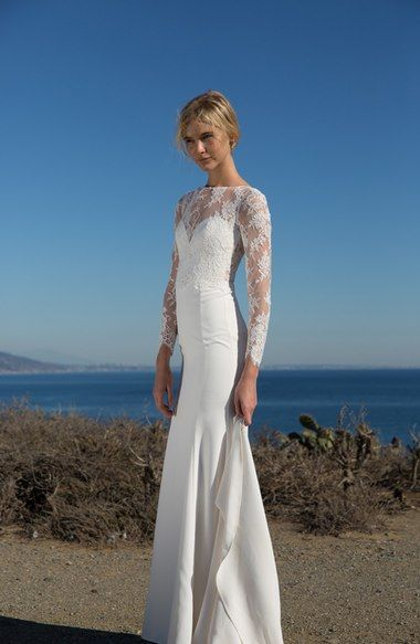 Main Image - nouvelle AMSALE 'Noelle' Long Sleeve Lace & Crepe Gown (In Stores Only)