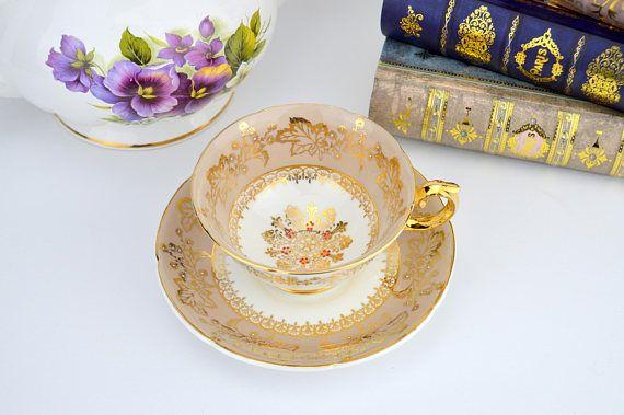 Royal Grafton Brown Teacup and Saucer English Bone China Tea