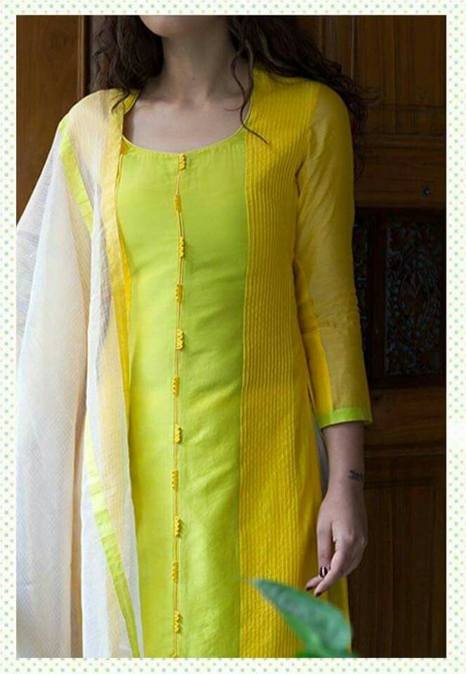 Lemon Yellow Designer Kurta For Office Wear Get It At