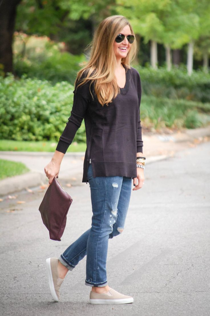 distressed denim and slip-on tennis shoes   www.ourbeaumonde.com