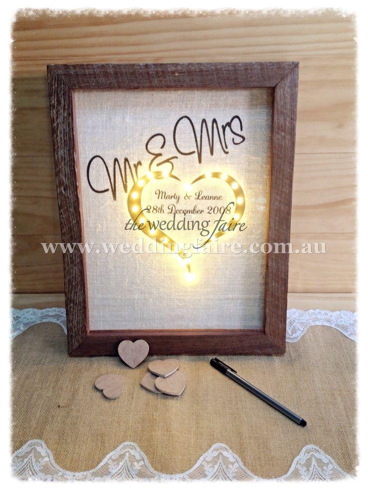 50 Hearts Jarrah Drop Top Guest Book - Mr & Mrs LED - The Wedding Faire