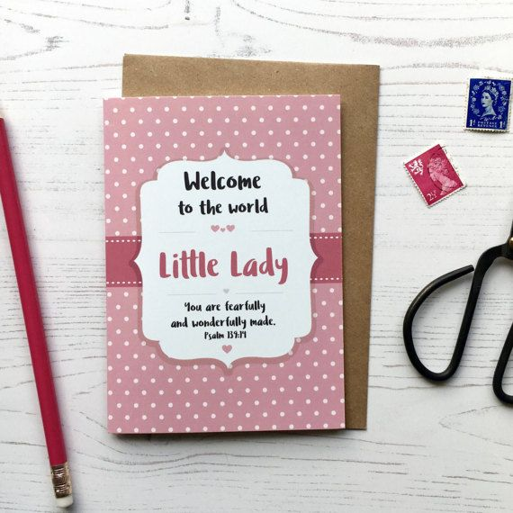 Welcome To The World Little Lady Card  New Baby Card