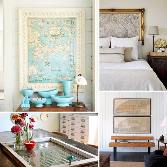 Love this idea - maybe do this as a headboard with a map of Paris to go with my theme in the guest room?  Or could do a collection of maps with places Logan and I have traveled in the living room?