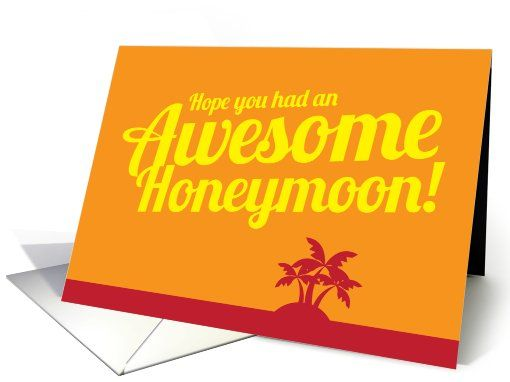 10 best honeymoon heaven images on pinterest honeymoons card orange tropical sunset greeting card to welcome the newlyweds back from their honeymoon by jazzydesignz m4hsunfo