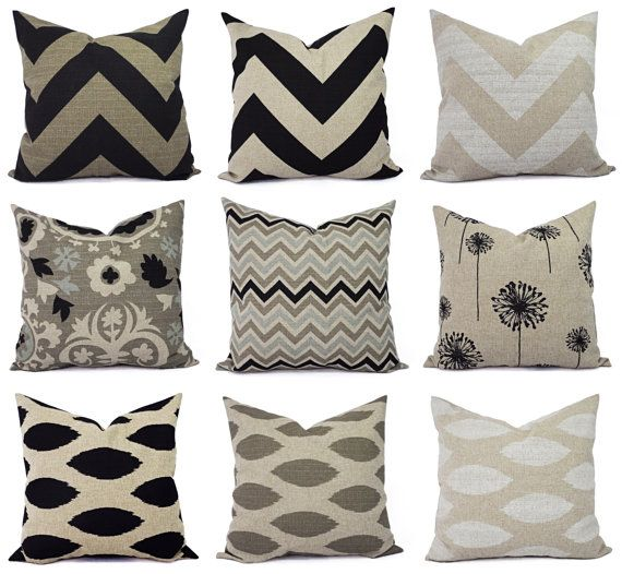 cream decorative pillow cover black pillow by castawaycovedecor 1000 - Black Decorative Pillows