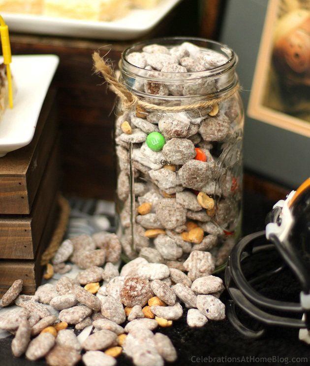 Sweet & Salty Trail Mix  2 cups semi-sweet {or dark chocolate} chocolate chips  1/4 cup peanut butter  6 cups hexagon cereal {Crispix}  1 cup powdered sugar  Sea Salt  1 cup dry roasted peanuts, lightly salted  1/4 cup m & m's