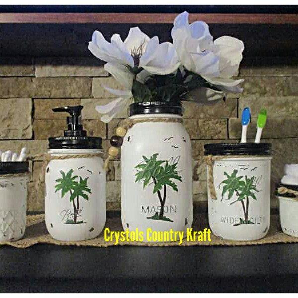 Palm tree bathroom decor, tropical leaf decor, tropical island bathroom decor. Palm tree soap jar and toothbrush holder plus vase and storage jars.