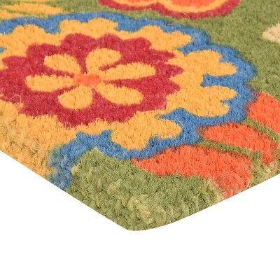 """HomeTrax Coir Mat Doormat - Summer Flower (18"""" x 30""""),"""