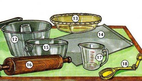 12. cake pan 13. pie plate 14. cookie sheet 15. (mixing) bowl 16. rolling pin 17. measuring cup 18. measuring spoon