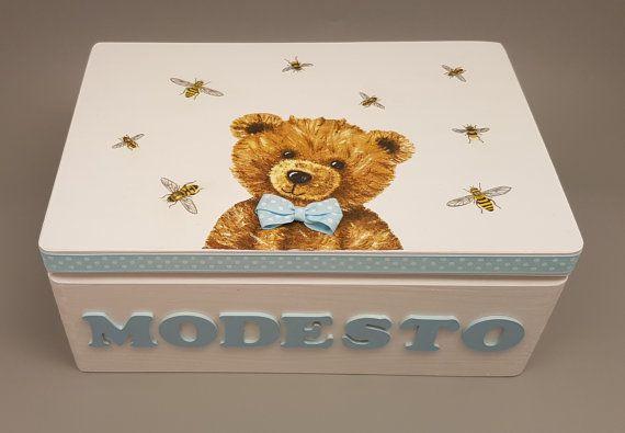 Personalized Baby Keepsake e Memory Box scatola Decoupage