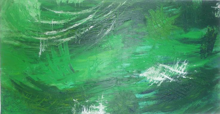 JUNGLE   Tableau unique format 130x81cm peint en 2008  Technique : Peinture à l'acrylique et utilisation de résine peint au pinceau et au couteau  La toile est montée sur châssis bois et protégée par un vernis afin de donner une très bonne longévité.