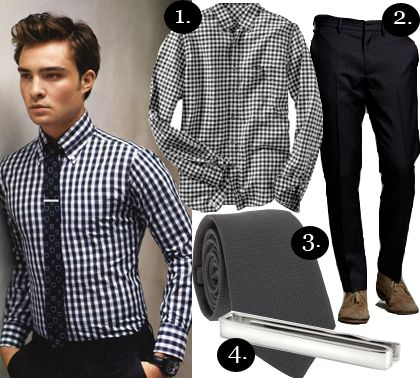 1. Gap Fitted Brushed Gingham Shirt ($44.50) 2. J Crew Urban Slim-Fit Herringbone Wool Bowery Pant ($128) 3. Rag & Bone Warp Tie ($125) 4. Kenneth Cole Skinny Tie Clip ($35)