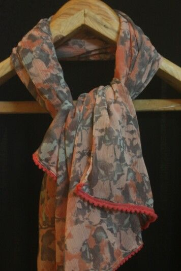 Pale pink stole with grey prints