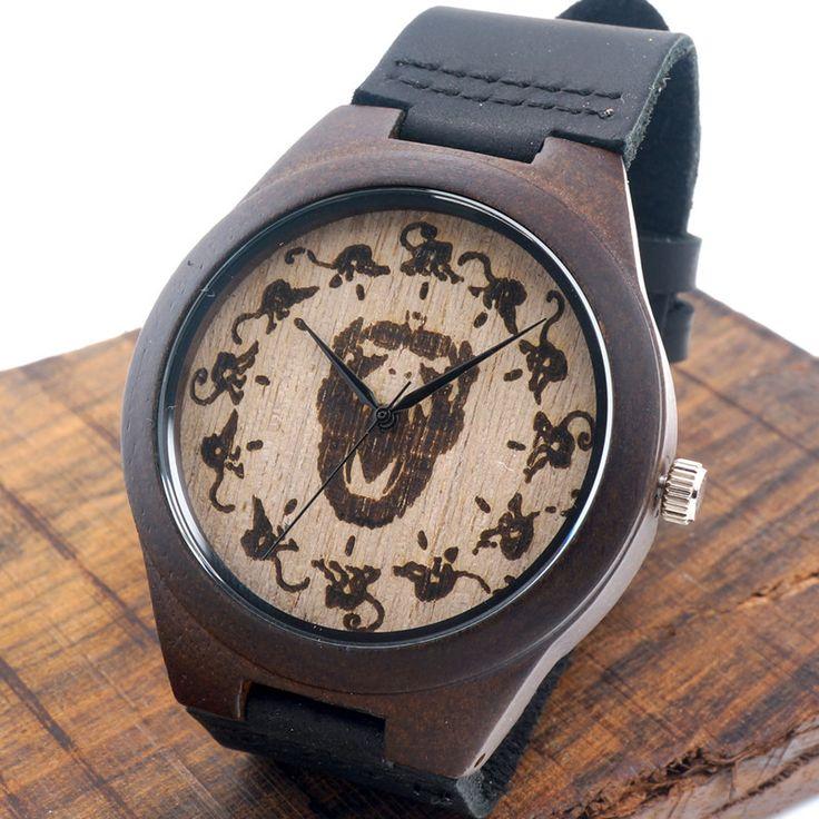 Bobobird Monkey watch Wooden Relojes Quartz Men Watches Casual Wooden Color Leather Strap Watch Wood Male Wristwatch