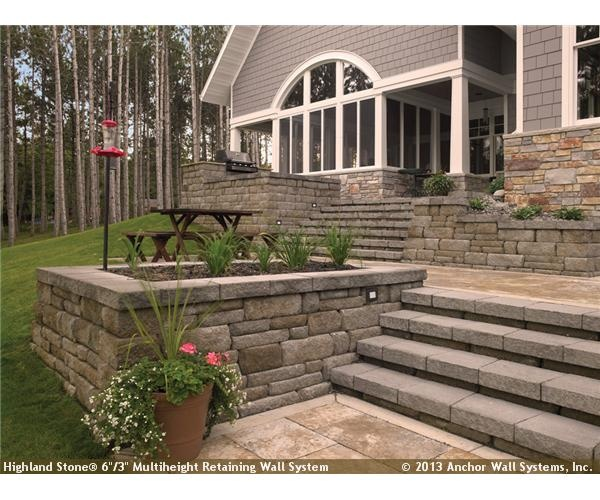 Raised Patio Featuring Highland Stone® Wall System