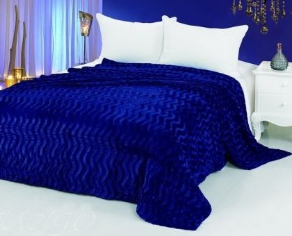 Купить покрывало из искусственного меха ВОЛНА синее 220х240 от производителя…