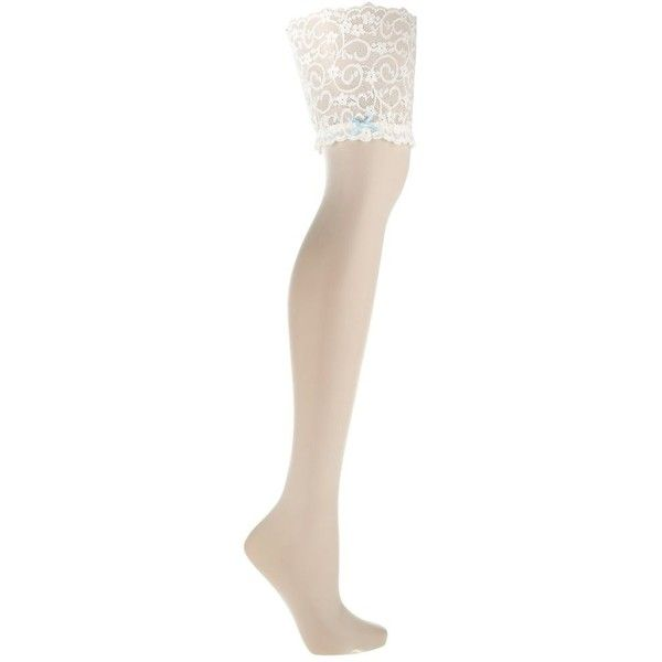 Designer ivory 10D deep lace top stockings ($16) ❤ liked on Polyvore featuring intimates, hosiery, tights, stockings, lingerie, underwear, socks, lace lingerie, ivory lace tights and lace stockings