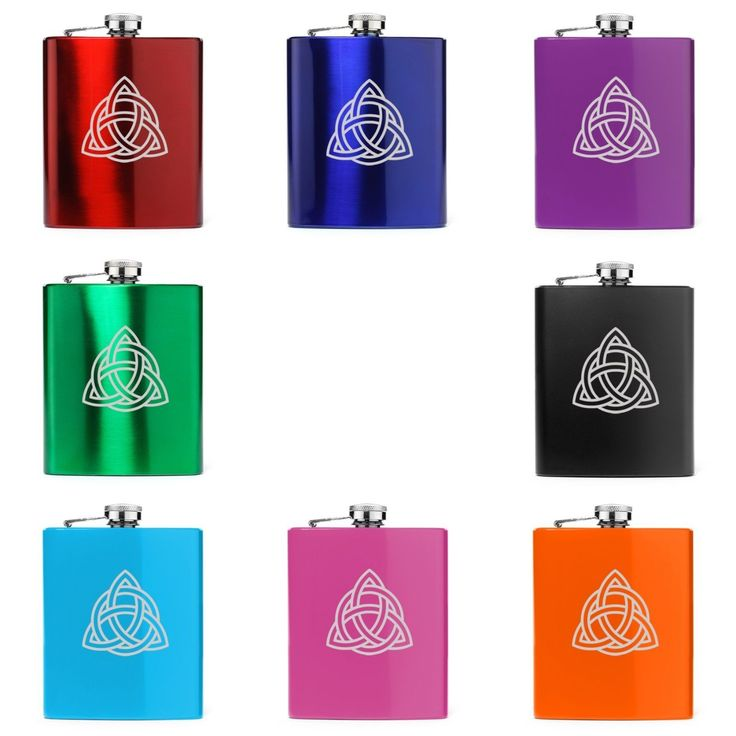 7Oz Stainless Steel Hip Flask Triquetra Symbol Celtic Knot