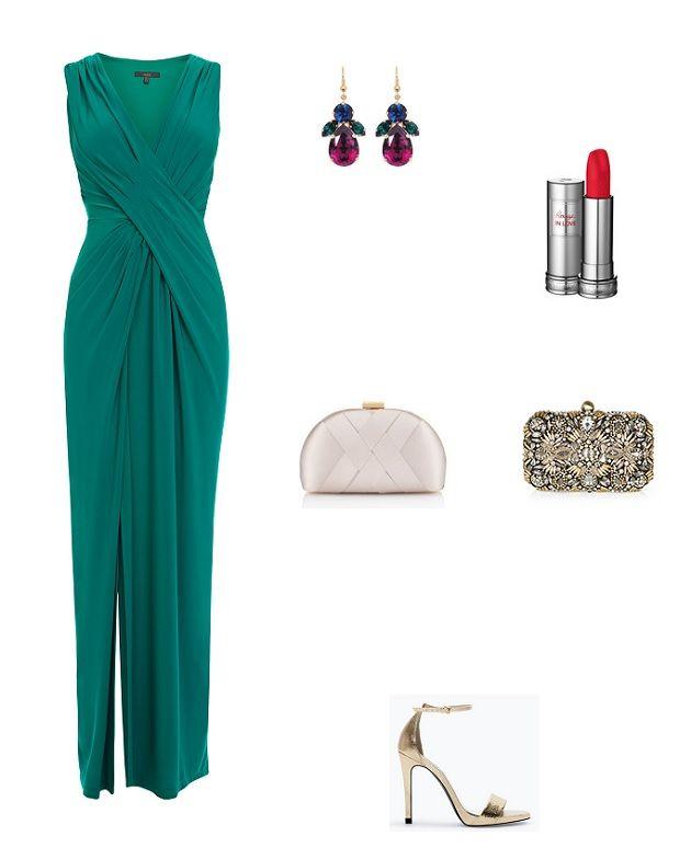 look boda noche vestido verde teal