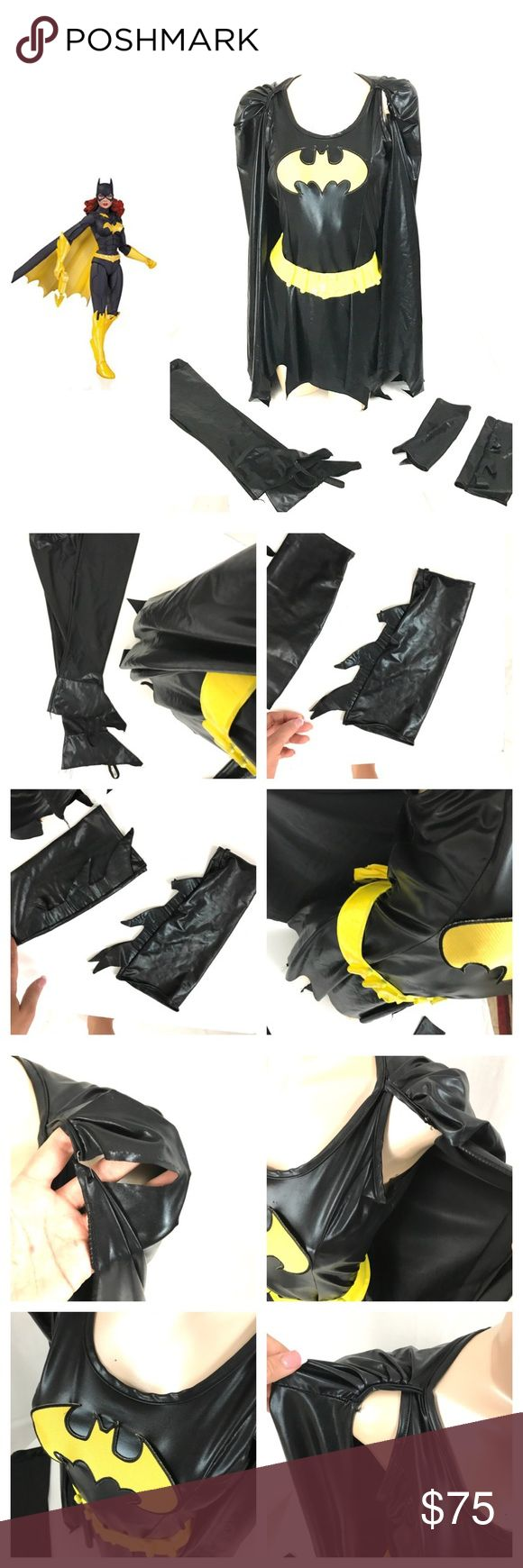 •WOMENS• Batgirl Halloween costume COSTUME: bat girl - batman - costume   SIZE: one size fits most   CONDITION: gently used. The cape has a popped seam at the shoulder. Held together by a safety pin   # OF PIECES -4 dress with attached cape, belt, boot tops, arm bands,   AVL COSTUME MATCHES? Yes, adult batman and child batkid Other